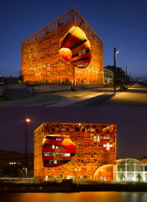 cube orange confluence de nuit lyon