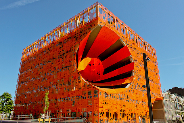 Photo lyon confluence cube orange for Arquitectura lyon