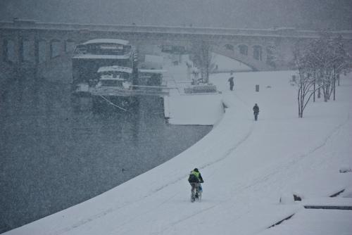 Lyon sous la neige - berges du Rhone