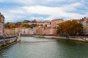 Photo vue du pont La Feuillée, Lyon
