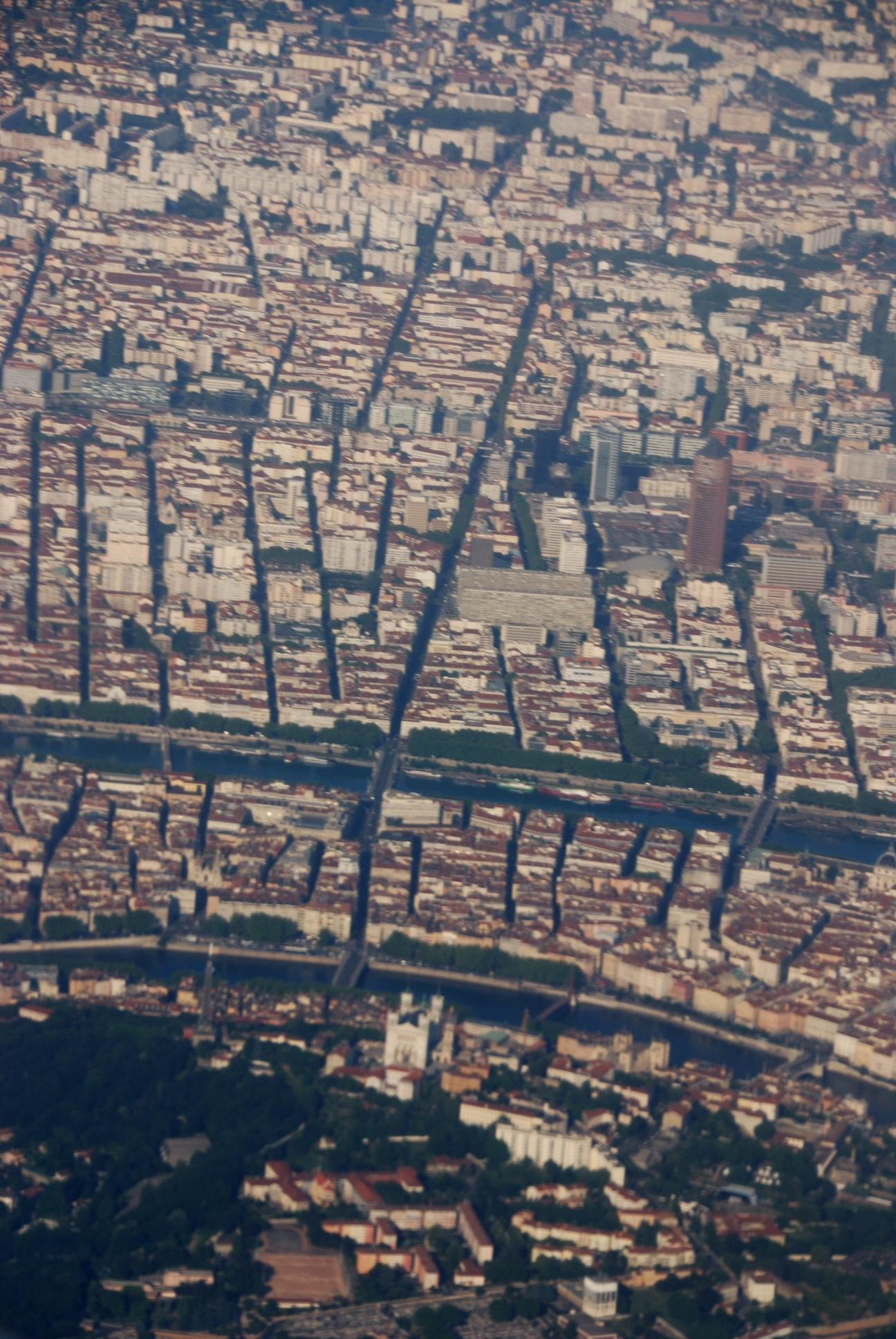 Vue aérienne de Lyon